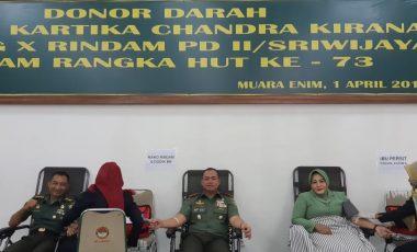 Persit dan TNI AD Serta PNS RINDAM II/SWJ Gelar Donor Darah